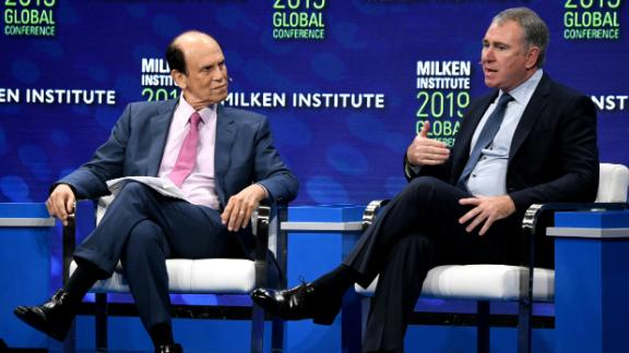 Michael Milken, chair of the Milken Institute, and billionaire hedge funder Ken Griffin talk about the future of capitalism at the annual Milken Institute Global Conference on April 29.