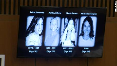 Prosecutors displayed these images of Michael Gargiulo's alleged victims in their opening statement Thursday.