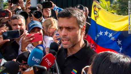Lopez spoke to reporters outside the Spanish ambassador's residence in Caracas.