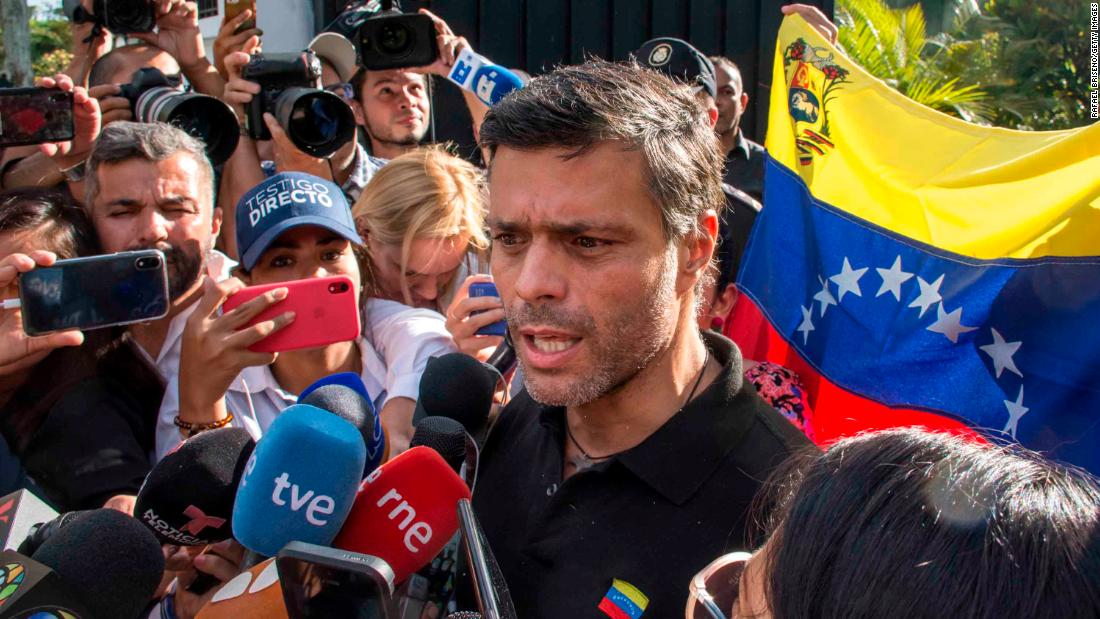 "Opposition activist Leopoldo Lopez <a href=""https://edition.cnn.com/2019/05/03/americas/venezuela-lopez-opposition-intl/index.html"" target=""_blank"">speaks to the media</a> at the gate of the Spanish ambassador's residence in Caracas on May 2. Lopez is meant to be on house arrest, but he said on Twitter that he was released by the military. He and his family have been received as guests by Spanish Ambassador Jesús Silva Fernández following his release."