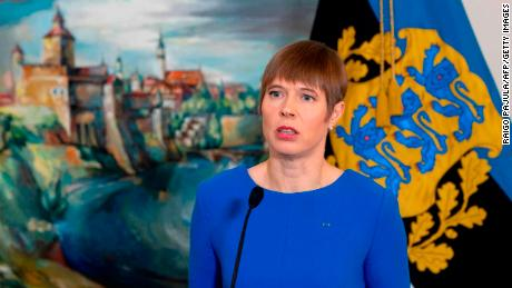 Estonia's President Kersti Kaljulaid addresses the press on April 5, 2019 at the Presidential Palace in Tallinn.