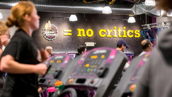 """TORONTO, ON -  JANUARY 7: Planet Fitness, a low cost gym chain, opened its first Canadian branch in Toronto. The franchise is growing quickly thanks to low prices and its """"judgement free-zone"""" mantra.        (Bernard Weil/Toronto Star via Getty Images)"""