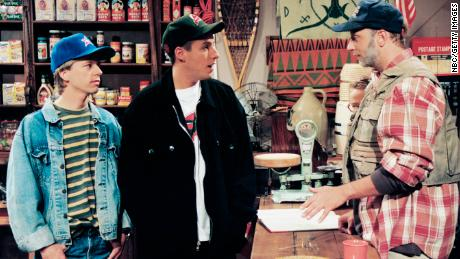 "SATURDAY NIGHT LIVE -- Episode 20 -- Air Date 05/13/1995 -- Pictured: (l-r) David Spade, Adam Sandler as customers, Chris Elliott as Tommy during ""Prichard's"" skit on May 13, 1995  (Photo by Al Levine/NBC/NBCU Photo Bank via Getty Images)"