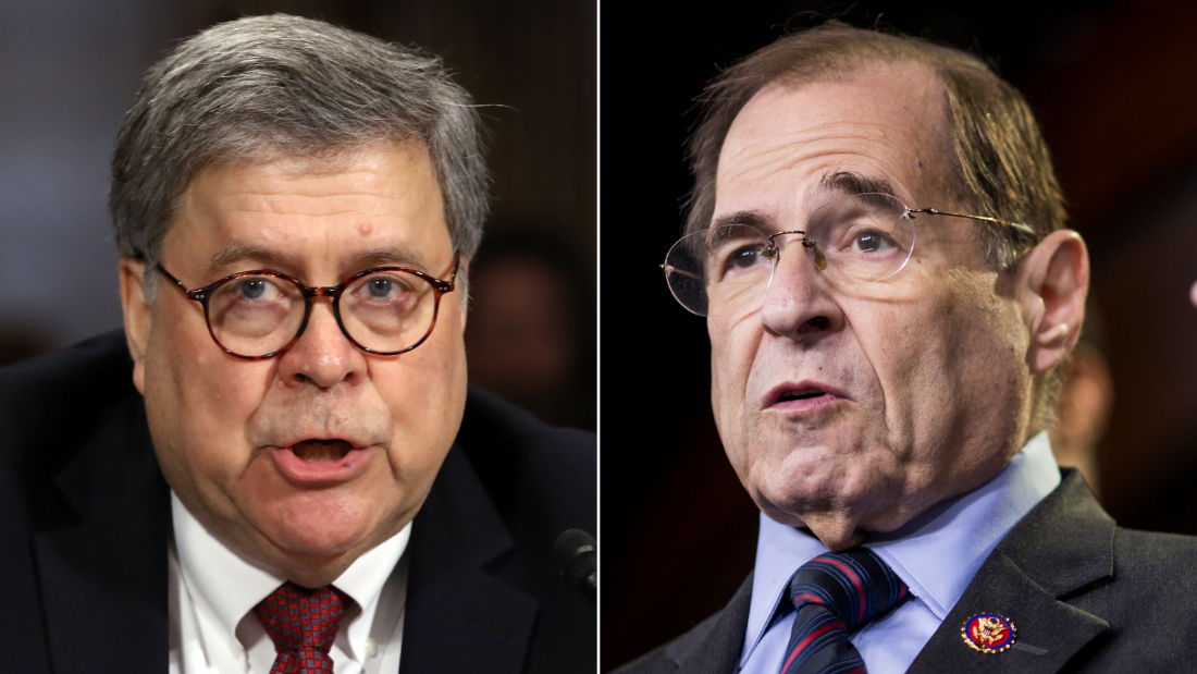 Attorney General William Barr, left, and Judiciary Chairman Jerry Nadler.