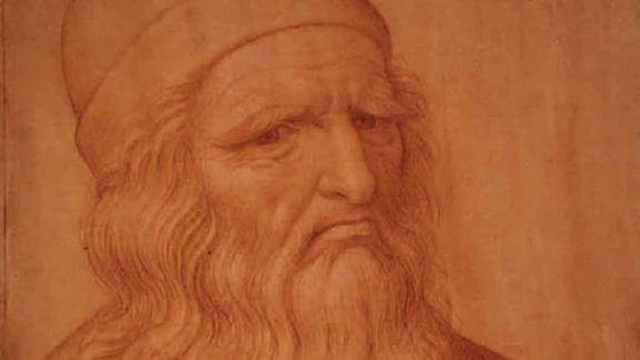 A portrait of Leonardo da Vinci from the 16th century by Giovanni Ambrogio Figino, drawn in red chalk.