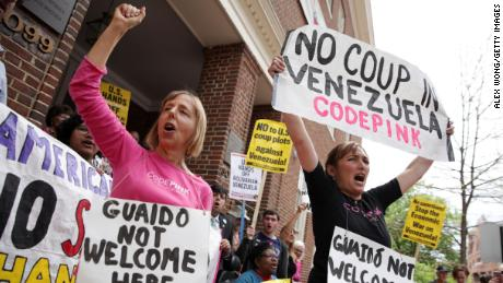 WASHINGTON, DC - APRIL 25: Medea Benjamin (L) and Ariel Gold (R) of CodePink shout slogans during a news conference outside the Embassy of Venezuela April 25, 2019 in Washington, DC.