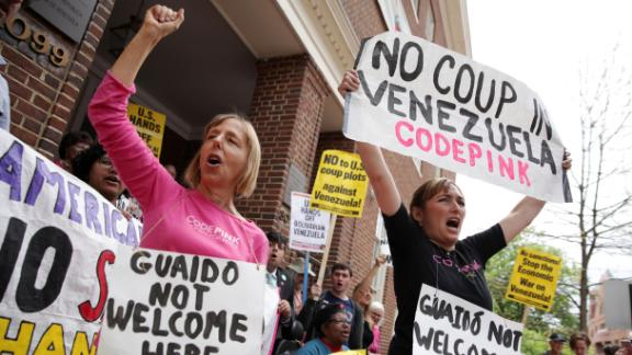 Benjamin, left, and Ariel Gold are among the US activists occupying the Venezuelan Embassy in Washington.
