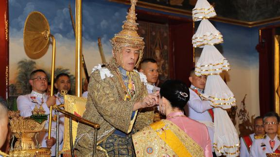 King Vajiralongkorn anoints Queen Suthida at the Grand Palace on May 4.