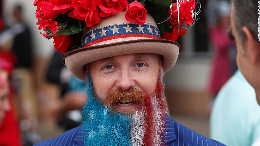 Race fan Garey Faulkner dressed in a patriotic outfit for the derby.
