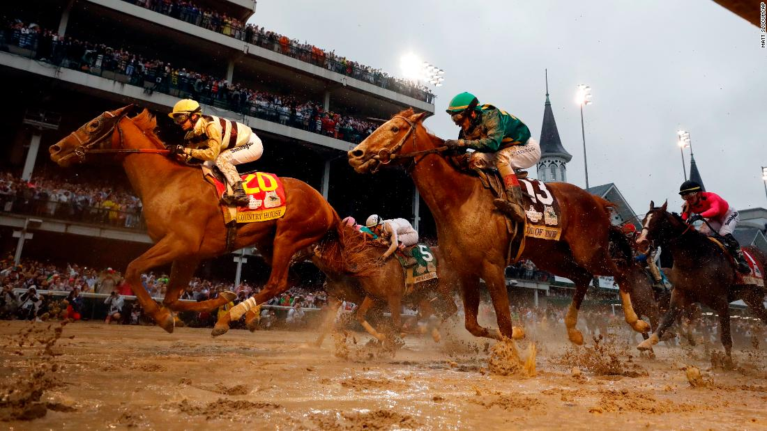 Flavien Prat rides Country House to victory during the 145th running of the Kentucky Derby.