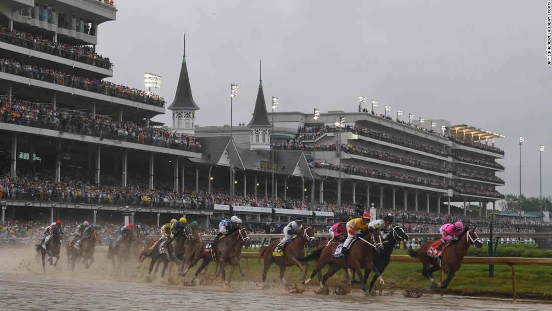 Luis Saez riding Maximum Security takes the lead heading into the first turn during the 145th running of the Kentucky Derby at Churchill Downs. Maximum Security crossed the finish line first but after was disqualified because of a foul on the track.