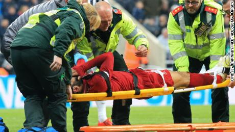 Salah left the pitch injured in the second half.