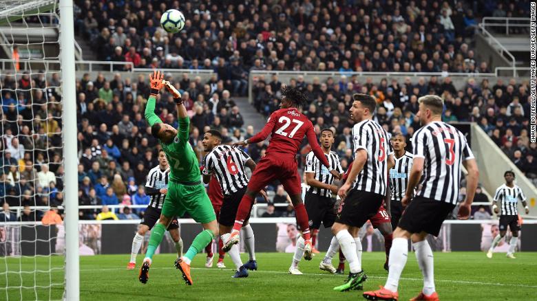 Origi scores Liverpool's third goal.