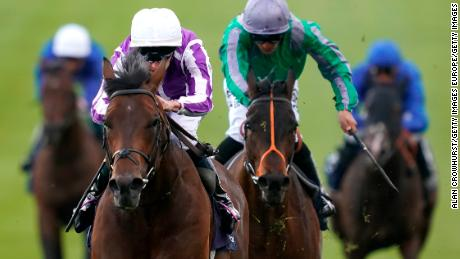Donnacha O'Brien riding Magna Grecia (white cap) to victory.