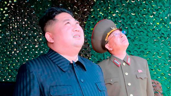 This photo, provided by the North Korean government on May 5, shows North Korean leader Kim Jong Un observing tests of different weapons systems on May 4.