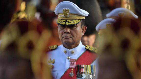 Thailand's Prime Minister Prayut Chan-o-Cha takes part in the coronation procession on May 5.