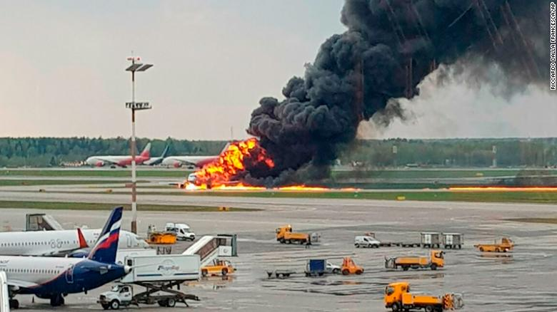 Russian airliner lands engulfed in flames