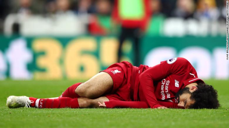 Liverpool's Mo Salah suffered concussion in a Premier League match against Newcastle.