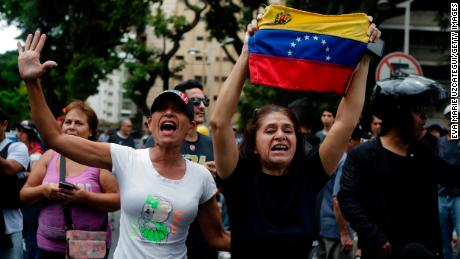 Supporters of opposition leader Juan Guaido demonstrated Saturday in Caracas.