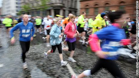 Runners take part in the Belfast City Marathon in 2012, prior to the route change.