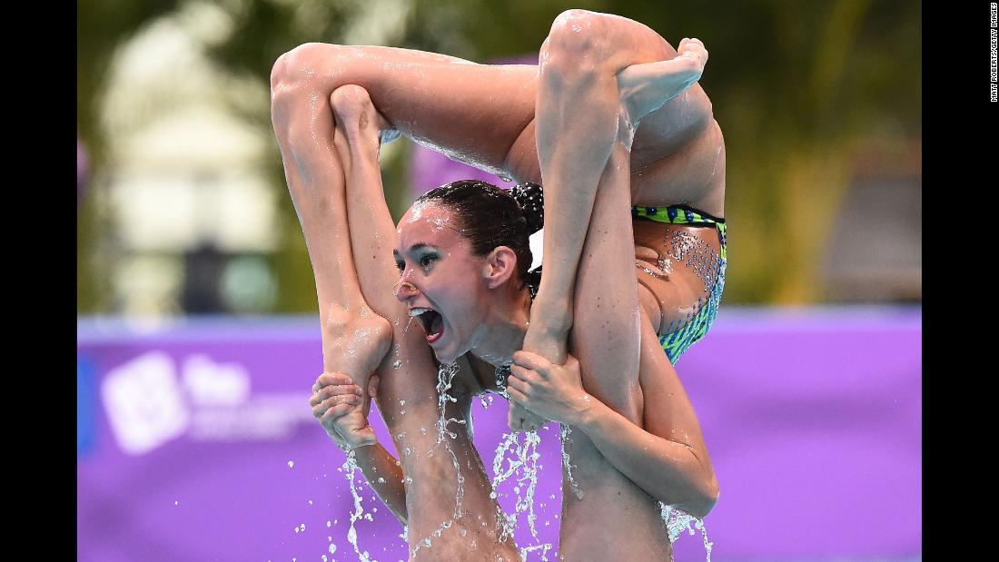 Team Spain competes during the Team Free Routine Final on day two of the Artistic Swimming Japan Open in Tokyo on Sunday, April 28.