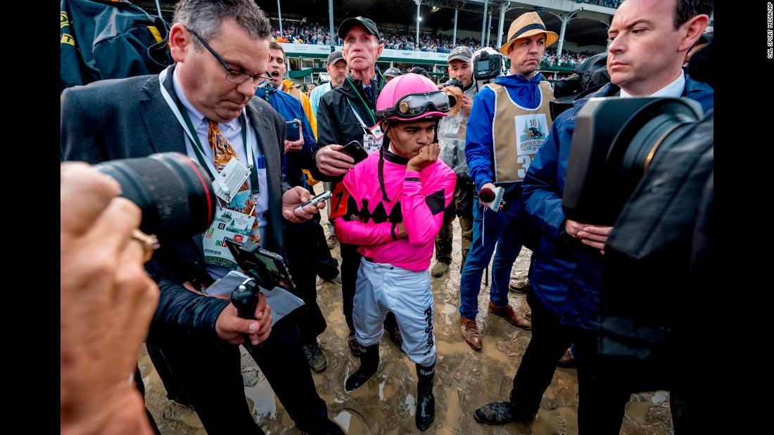 "Luis Saez, jockey of Maximum Security, reacts after learning of his horse's disqualification at the 145th running of the Kentucky Derby at Churchill downs on Saturday, May 4. Maximum Security was disqualified for a foul on the track, the first disqualification of its kind at the Derby. <a href=""https://www.cnn.com/2019/05/04/sport/gallery/kentucky-derby-2019/index.html"" target=""_blank"">See more photos from the Kentucky Derby</a>"