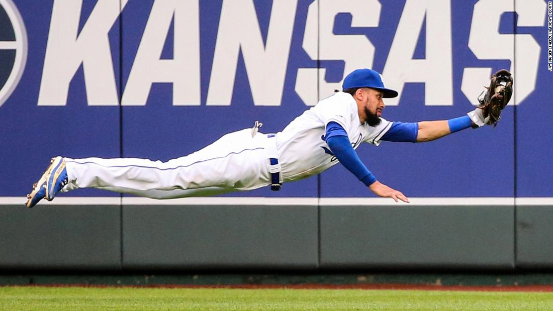 Kansas City Royals center fielder Billy Hamilton dives for a catch during the eighth inning in a game against the Tampa Bay Rays at Kauffman Stadium on May 1 in Kansas City, Missouri.
