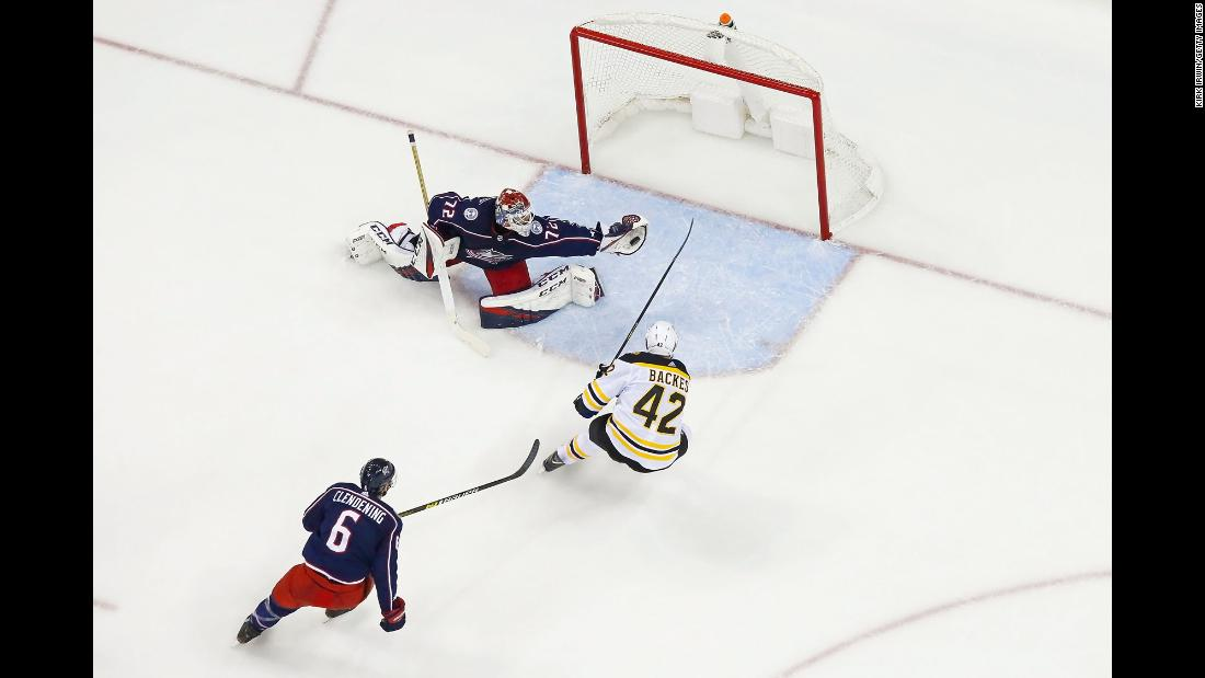 Columbus Blue Jackets goaltender Sergei Bobrovsky stops a shot from Boston Bruins' David Backes during Game Four of the second round of the 2019 NHL Stanley Cup Playoffs on Thursday, May 2, in Columbus, Ohio. Boston defeated Columbus 4-1.