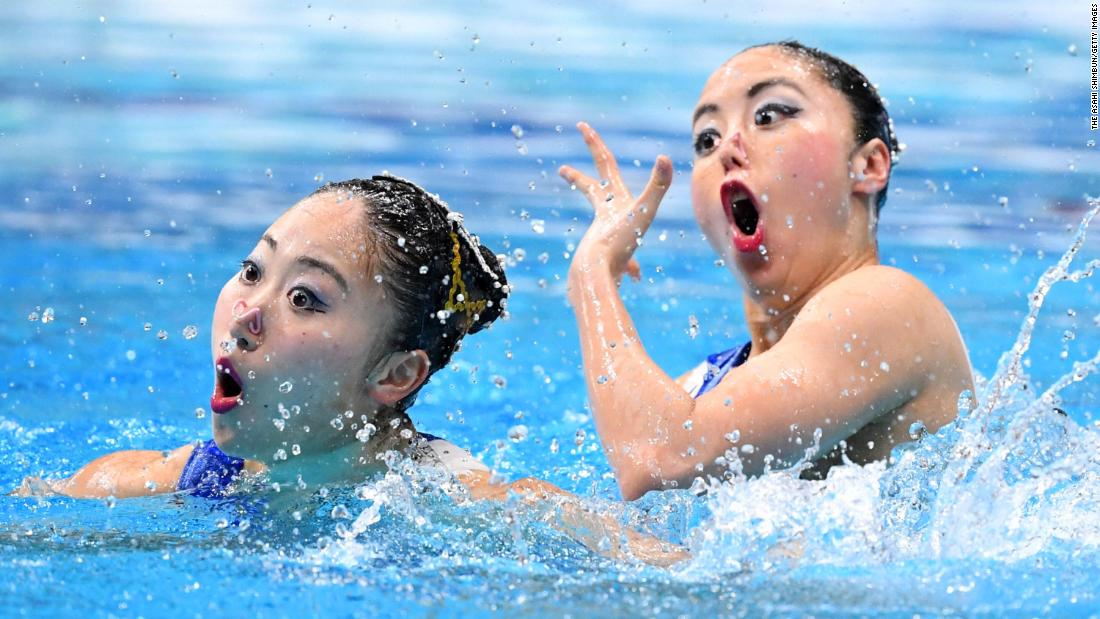 Yukiko Inui and Megumu Yoshida of Japan compete during the Duet Free Routine Final on day two of the Artistic Swimming Japan Open at Tokyo Tatsumi International Swimming Center on April 28.