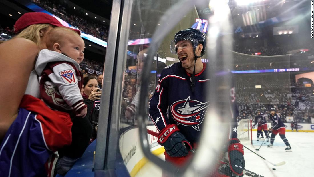 Columbus Blue Jackets center Matt Duchene smiles at his wife and son prior to Game 4 against the Boston Bruins during the second round of the 2019 Stanley Cup Playoffs at Nationwide Arena on Thursday, May 2, in Columbus, Ohio.