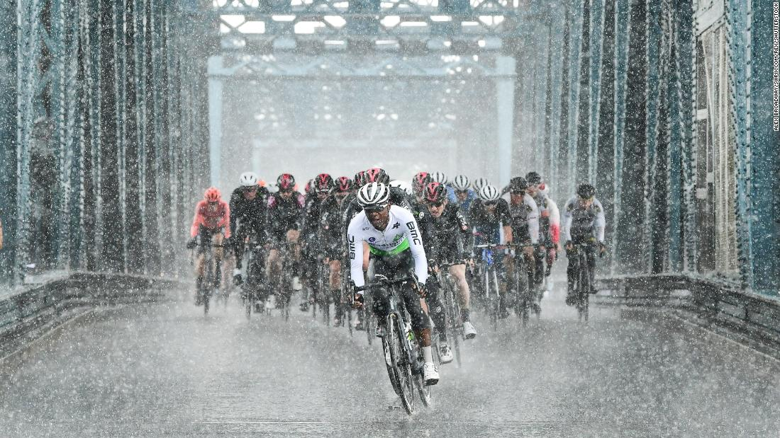 Nicholas Dlamini rides in front of the pack during the first stage of the Tour de Yorkshire between Doncaster and Selby, England, on Thursday, May 2.