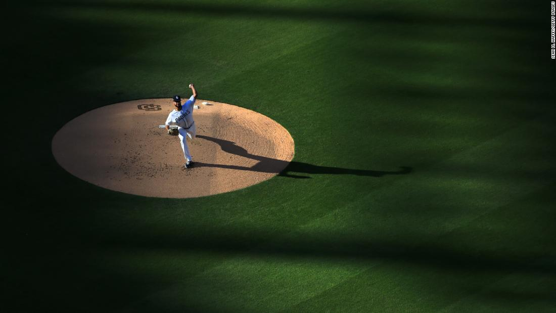 "Joey Lucchesi of the San Diego Padres delivers a pitch during the first inning of a game against the Los Angeles Dodgers at PETCO Park on Saturday, May 4, in San Diego. <a href=""https://www.cnn.com/2019/04/28/sport/gallery/what-a-shot-0428/index.html"" target=""_blank"">See 31 sports photos from last week.</a>"