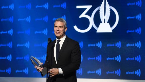 Andy Cohen accepts an award onstage during the 30th Annual GLAAD Media Awards New York