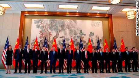01 May, 2019 Members of the US and China delegations lead by Chinese Vice Premier Liu He (9th R), US Treasury Secretary Steven Mnuchin (10th R) and US Trade Representative Robert Lighthizer (11th R) pose for a group photo after their meeting at the Diaoyutai State Guesthouse in Beijing. (Photo by Andy Wong / POOL / AFP)        (Photo credit should read ANDY WONG/AFP/Getty Images)