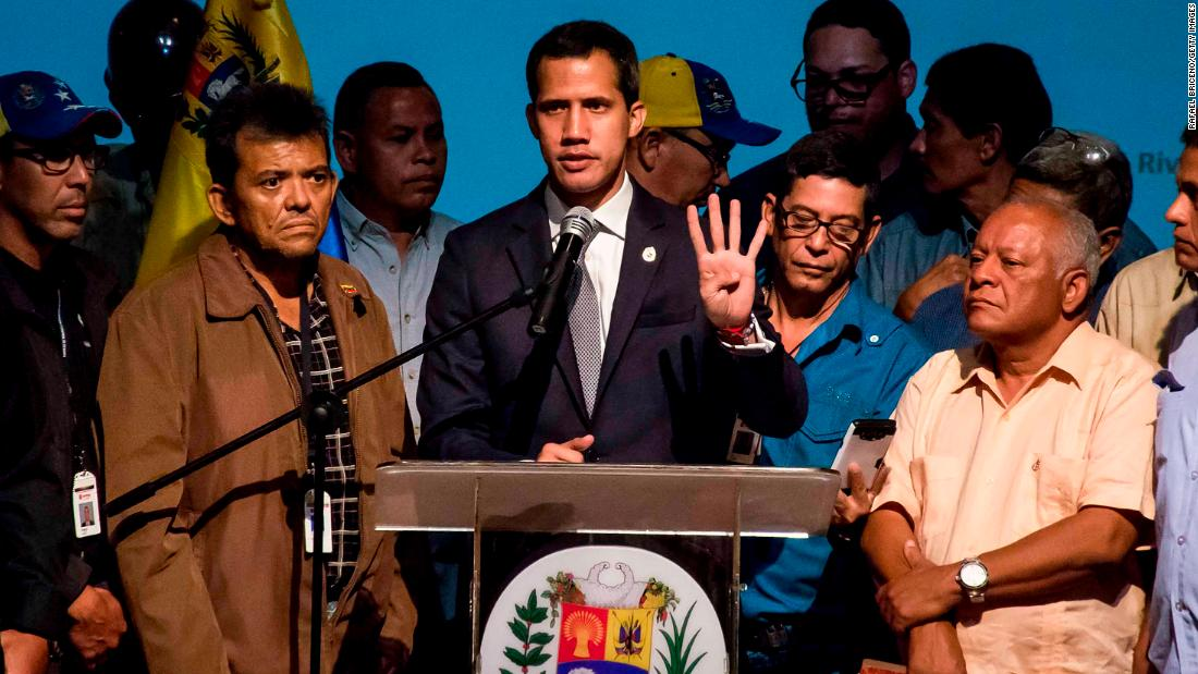 Opposition leader Juan Guaido gives a speech to opposition leaders and workers for the Venezuelan state-owned oil and natural gas company PDVSA on Friday, May 3.
