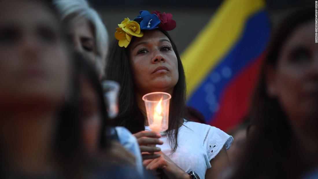 Anti-government demonstrators gather in Caracas on Sunday, May 5.
