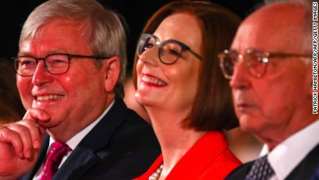 Australian Labor Party former premiers (from left to right) Kevin Rudd, Julia Gillard and Paul Keating attend leader Bill Shorten's address during the Labor Campaign Launch in Brisbane on May 5, 2019.