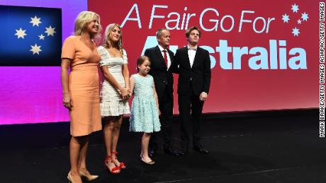 Labor leader Bill Shorten, his wife Chloe, and their children during the 2018 ALP National Conference on December 16, 2018 in Adelaide, Australia.
