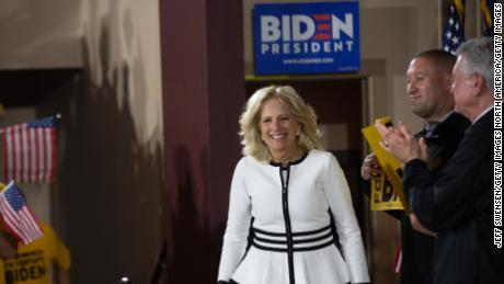 PITTSBURGH, PA - APRIL 29: Jill Biden, wife of Former U.S. Vice President Joe Biden, speaks at a campaign rally for her husband at Teamsters Local 249 Union Hall April 29, 2019 in Pittsburgh, Pennsylvania. Biden began his first full week of campaigning for president by speaking on how to rebuild America's middle class. (Photo by Jeff Swensen/Getty Images)