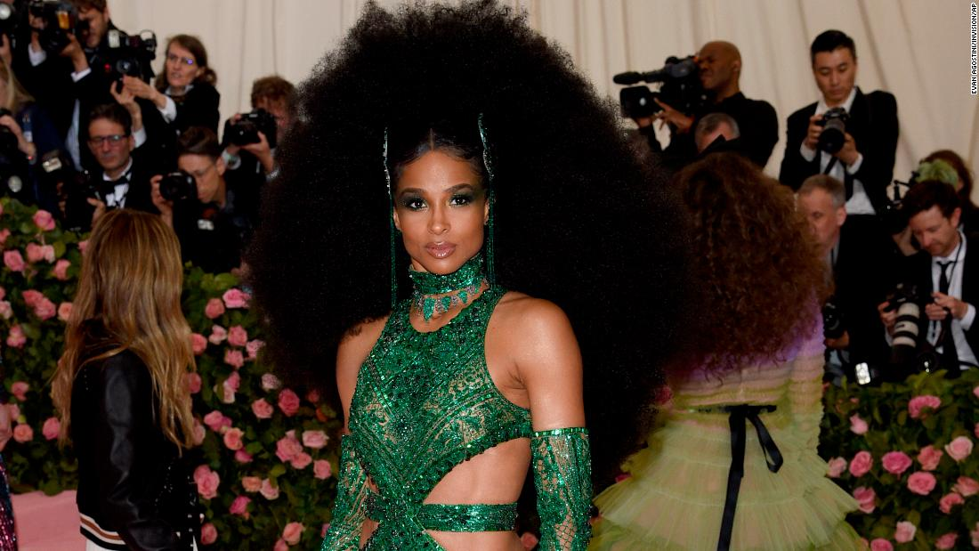 47038402a Ciara stunned on the red carpet with a voluminous hairdo and custom emerald  gown, complete