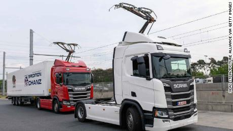 Trucks on a section of road used to test the eHighway system in Germany.