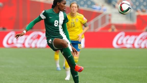 This month Oshoala became the first African to compete in the Women's Champions League.