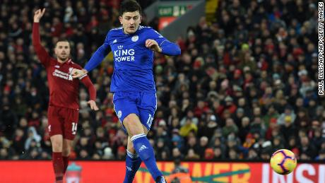 Leicester City's Harry Maguire shoots to score in the 1-1 draw at Liverpool.