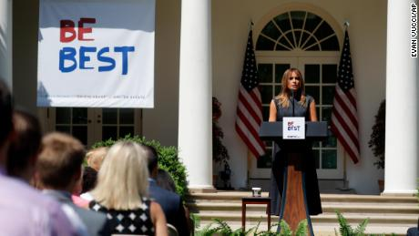 First lady Melania Trump speaks at the beginning of a program for the first lady's Be Best initiative in the Rose Garden of the White House, Tuesday, May 7, 2019, in Washington. (AP Photo/Evan Vucci)