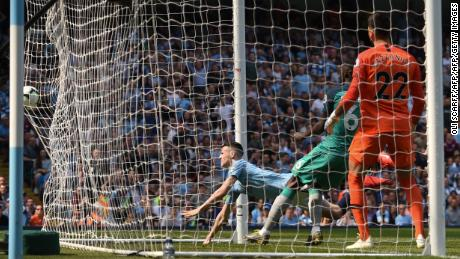 City midfielder Phil Foden scores the only goal of the game in the 1-0 win over Tottenham.