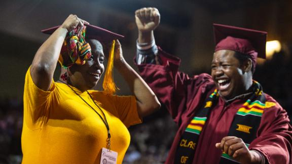 The mom earned a bachelor's in business administration, and her son majored in music theater.