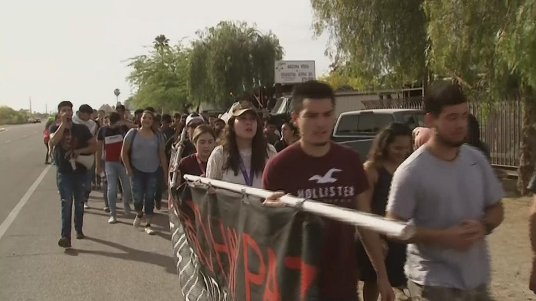Students at an Arizona school walk out after a classmate was turned over to border agents