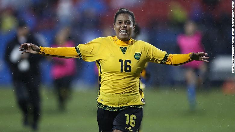 Bond-Flasza celebrates scoring the penalty which saw Jamaica qualify for France 2019.