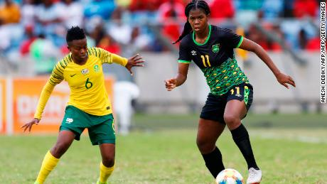 Jamaica's forward Khadija Shaw (right) is expected to make an impact in France.