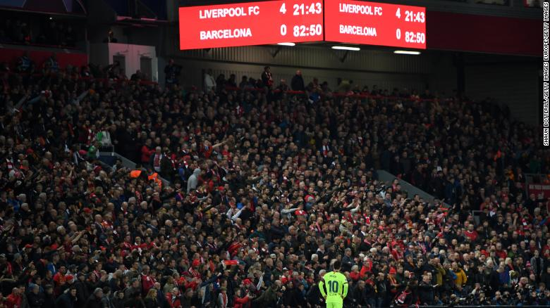 Lionel Messi was powerless to stop the Liverpool onslaught.
